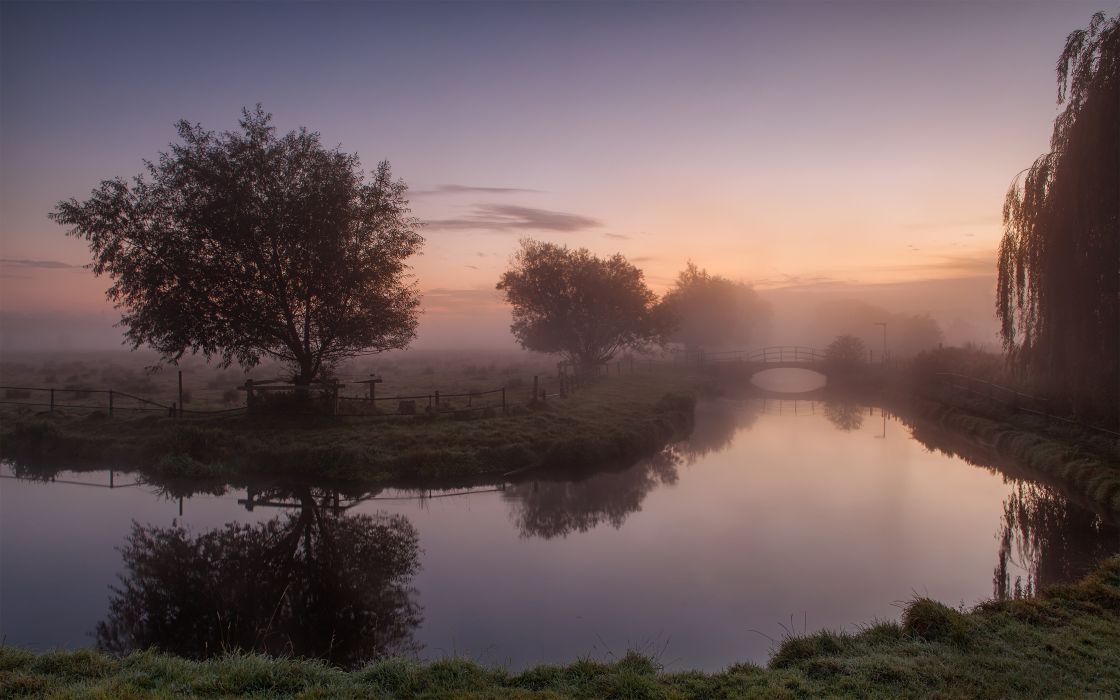 landscapes nature trees dawn fog mist United Kingdom HDR photography rivers reflections wallpaper