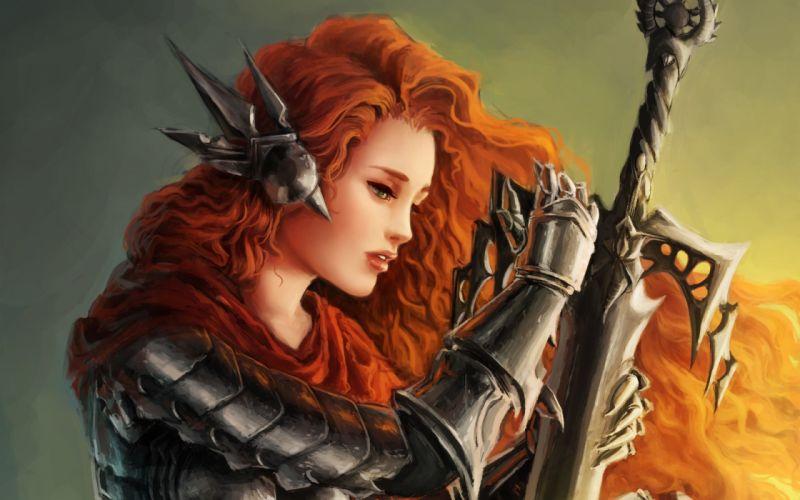 women fantasy art armor artwork warriors orange hair swords wallpaper