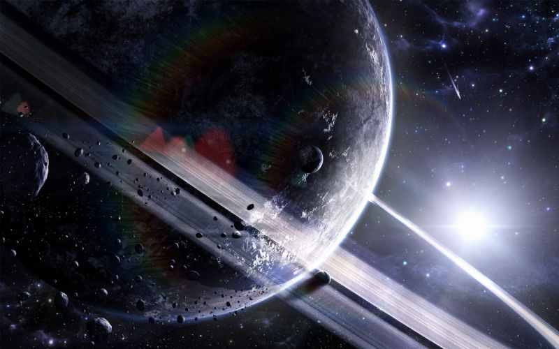 Sun outer space planets rings asteroids wallpaper