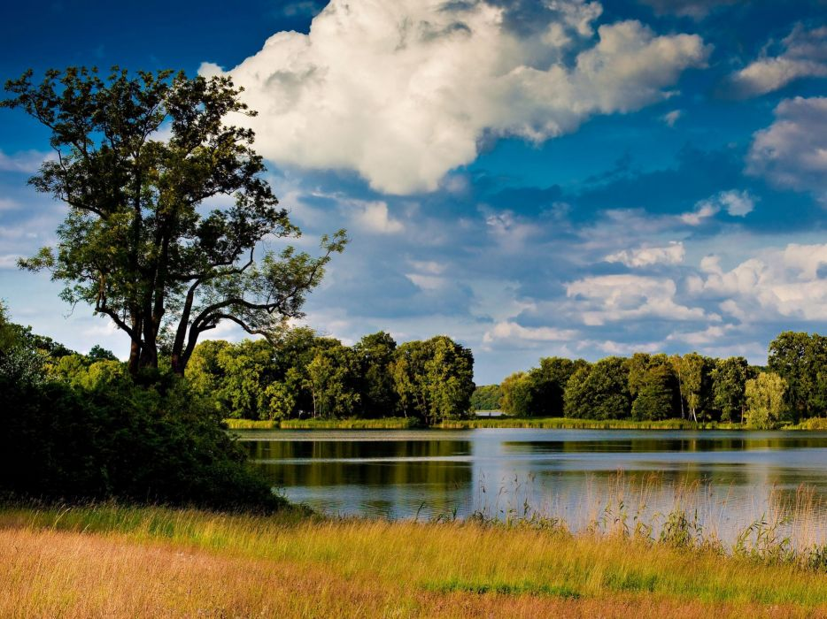 water clouds landscapes nature trees lakes wallpaper