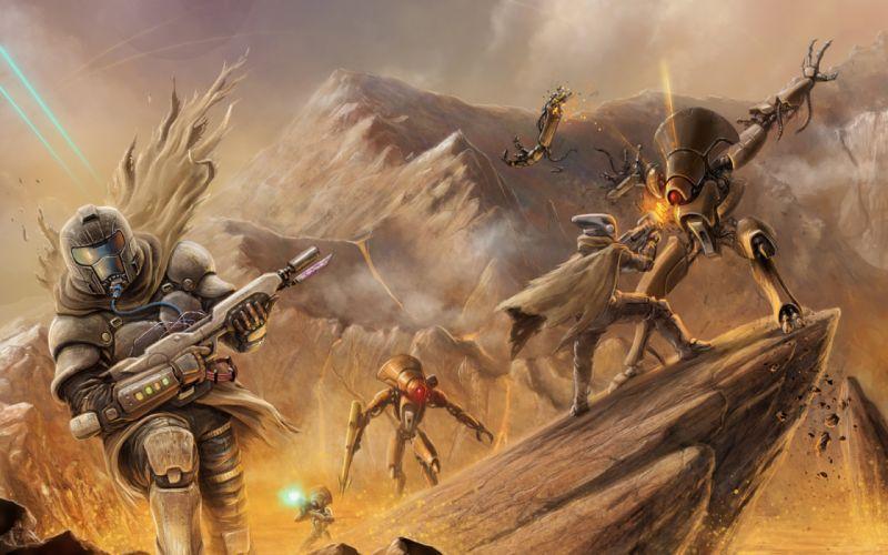 Destiny Online Warriors Battles Armor Games Fantasy sci-fi weapons battle monsters creature robot mecha wallpaper