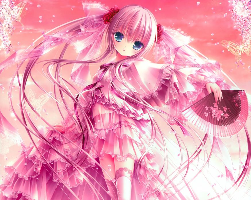 fan loli lolita fashion long hair original panties petals pink hair see through thighhighs tinkerbell tinkle twintails underwear wallpaper