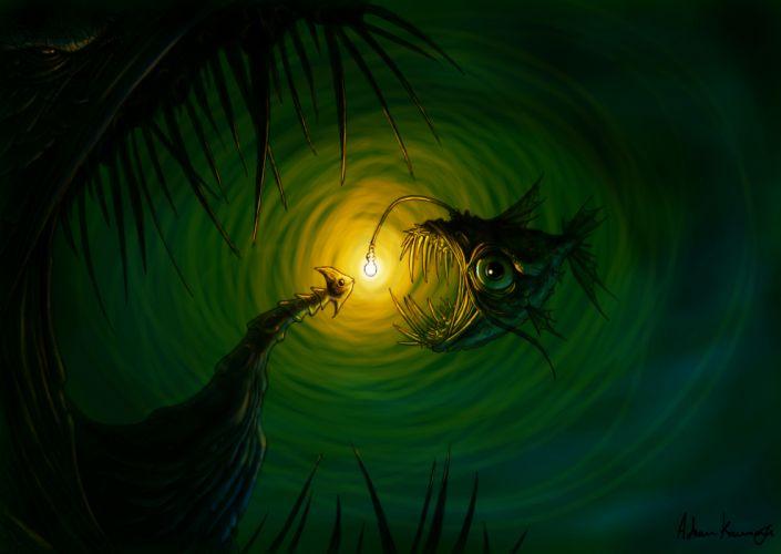 Fish Green Light Monster Creepy underwater ocean sea eyes dark wallpaper