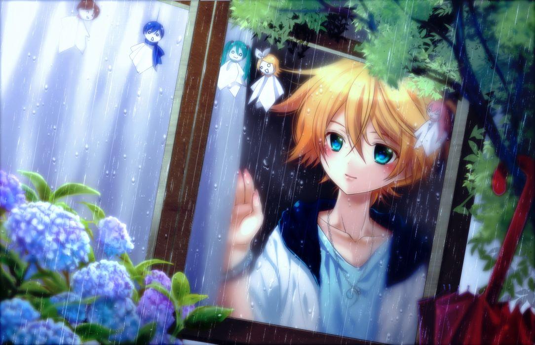 flowers hatsune miku kagamine len kagamine rin kaito meiko necklace rain shinwa teruterubouzu umbrella vocaloid wallpaper