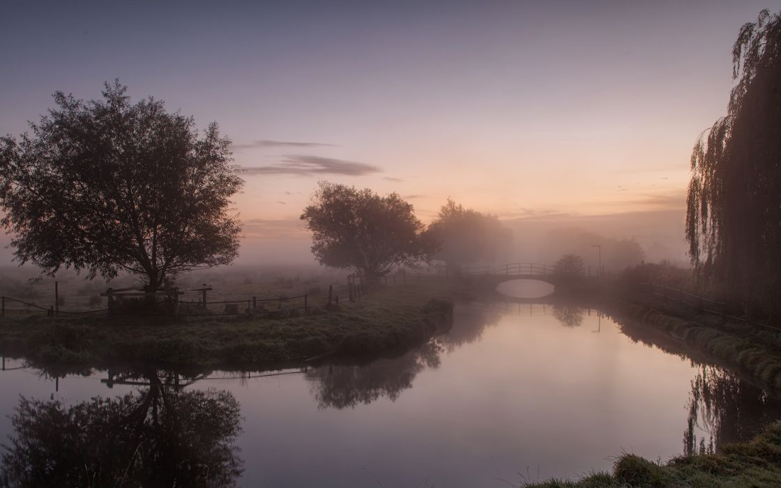 fog  willow  morning  river  landscape  trees  orazhenie  bridge sunrise reflection landscapes sky wallpaper