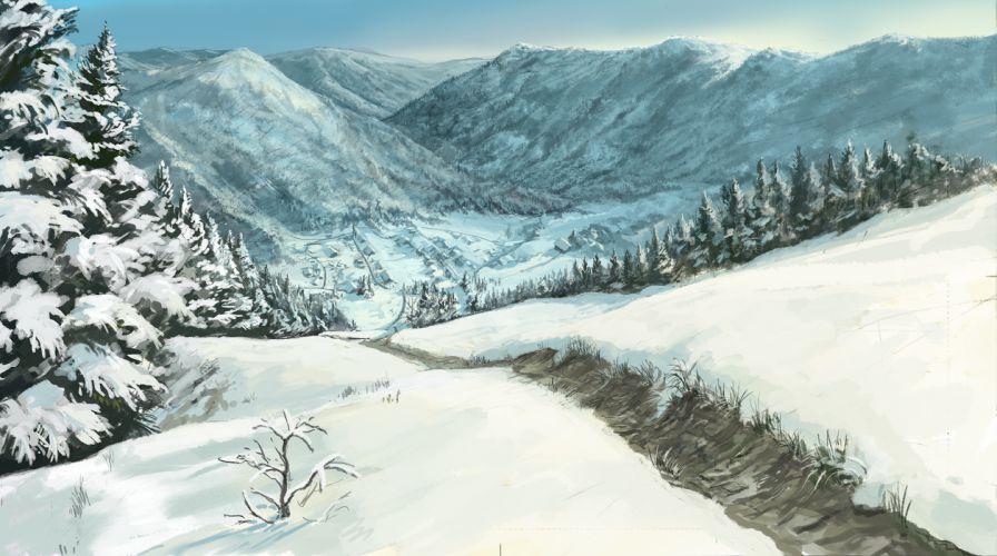 forest landscape original scenic snow you (shimizu) wallpaper
