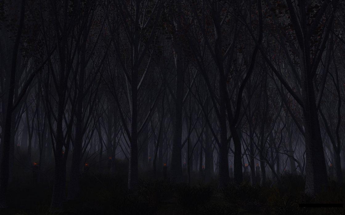 Forest Trees Night Creepy demons creature monsters evil dark wallpaper