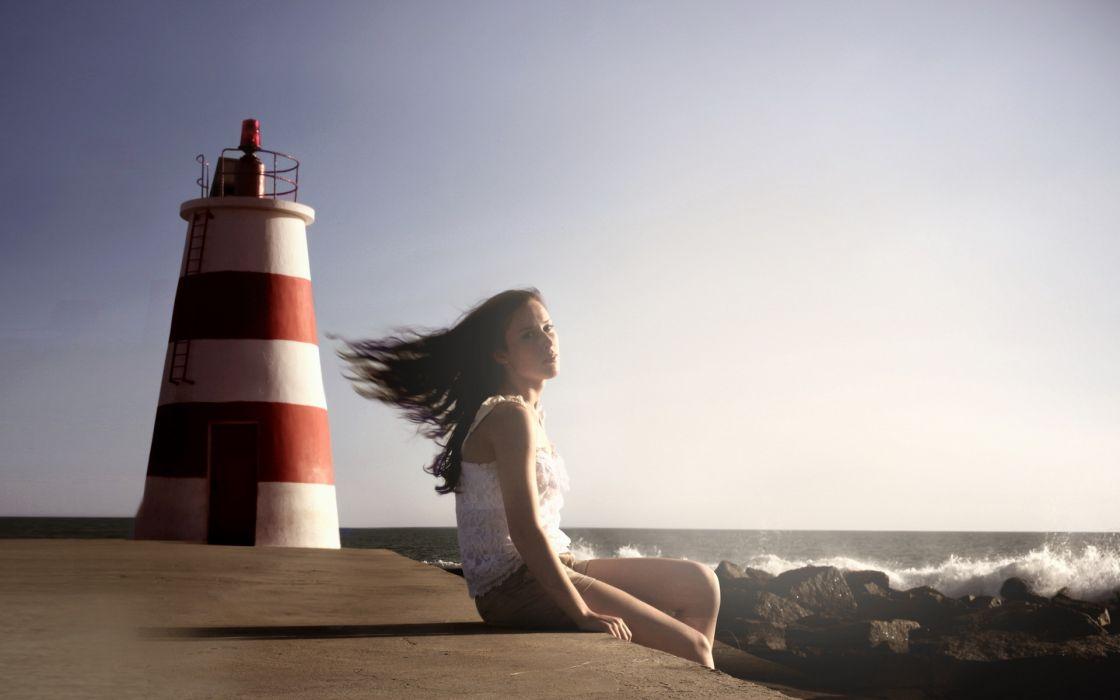 girl  sea  lighthouse  mood ocean waves sky women females babes hair face wallpaper