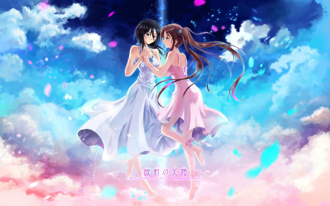 girls barefoot black hair brown hair clouds dress original petals ribbons tagme twintails wox wallpaper