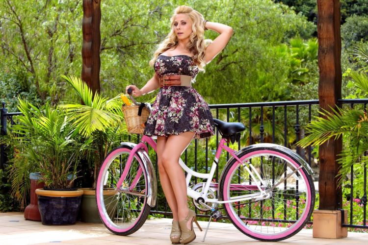 Girls Madison Ivy Bicycle Dress Skirt Blond women females sexy babes adult legs face wallpaper