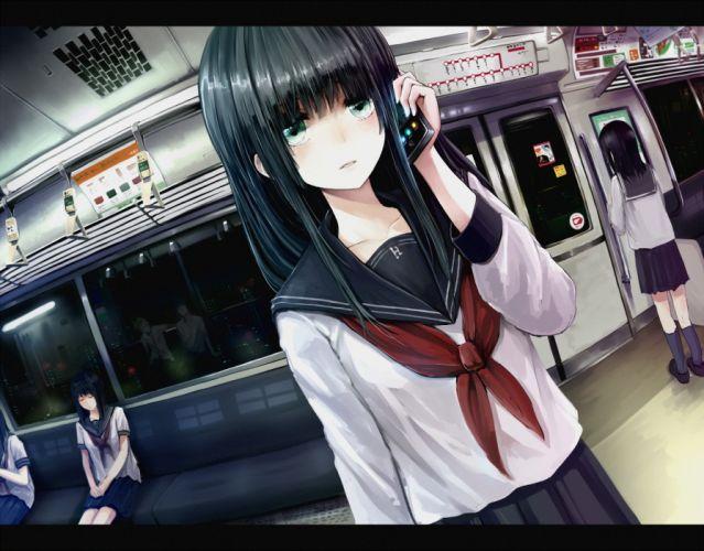 green eyes minato (shouno) night original phone seifuku train wallpaper