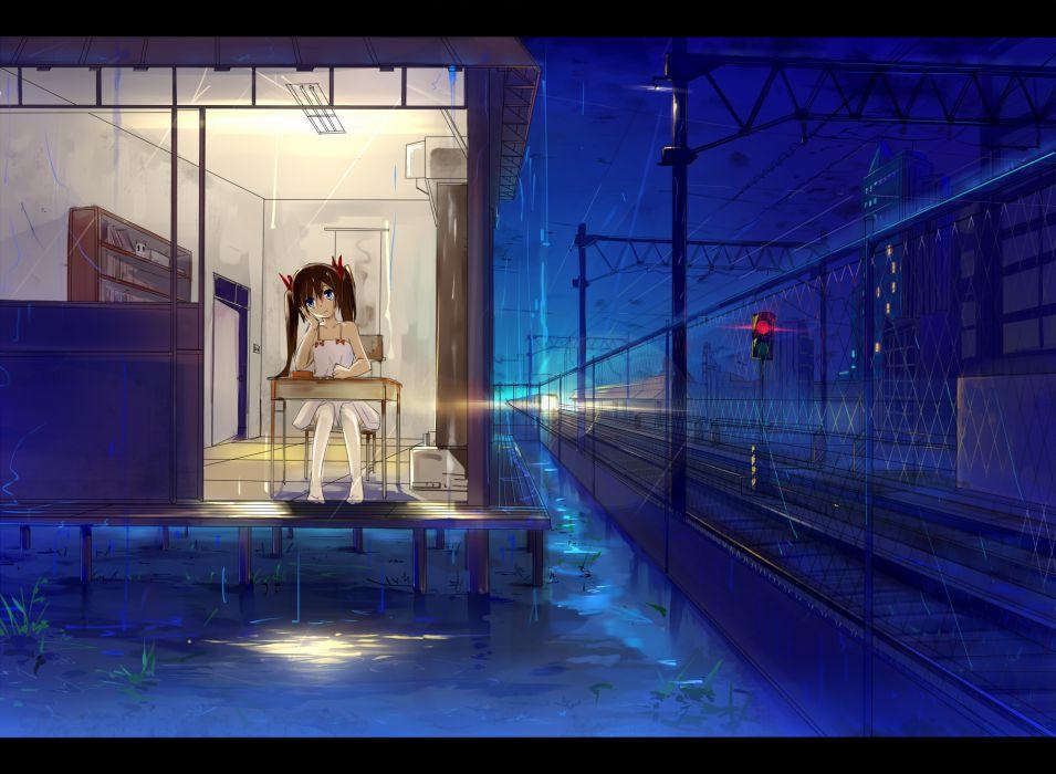 haraguroi you original rain train wallpaper
