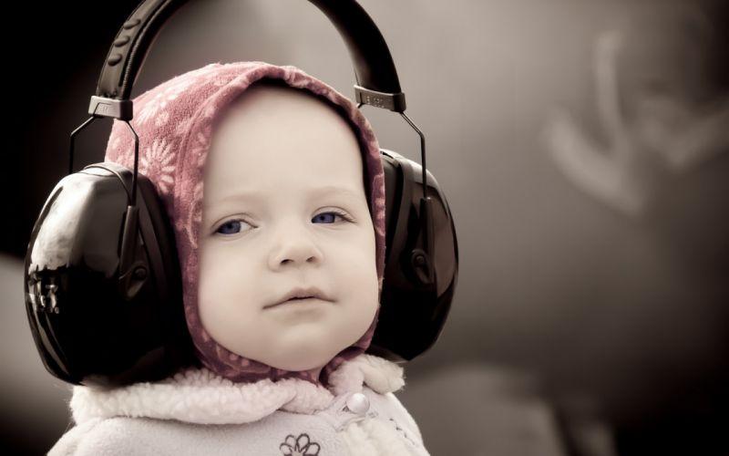 headphones mood babies children face eyes cute wallpaper