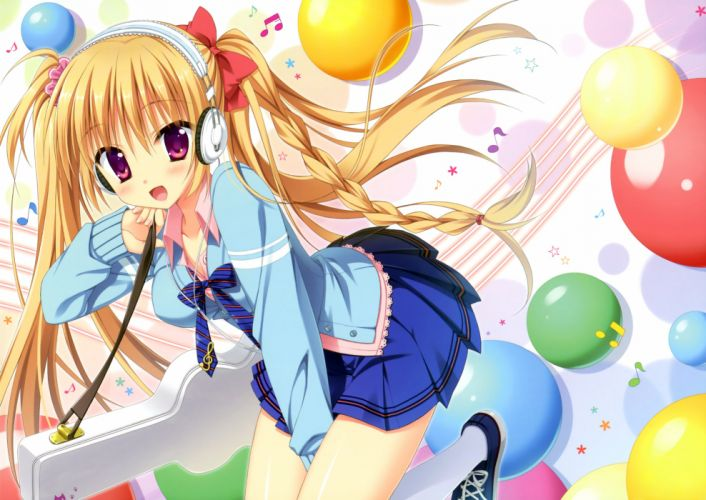 headphones hontani kanae long hair orange hair original purple eyes skirt twintails wallpaper