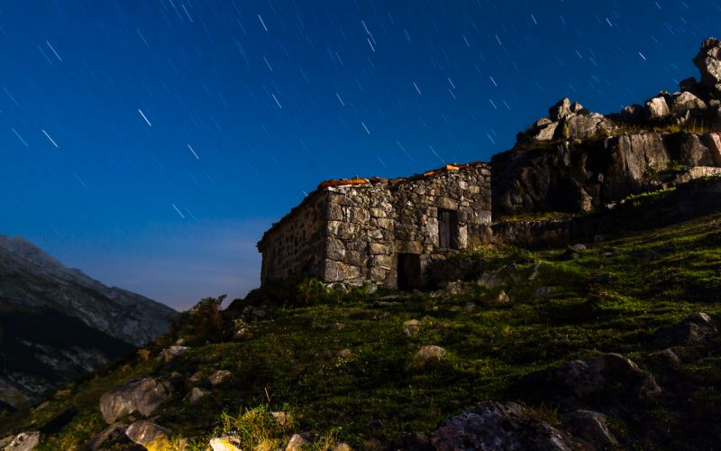 House Stars Night Timelapse Grass sky landscapes buildings ruins mountains wallpaper