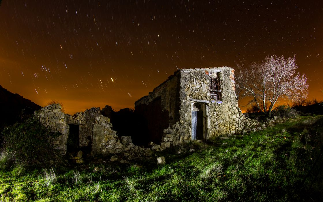 House Stars Night Timelapse Grass Tree sky landscapes buildings ruins wallpaper