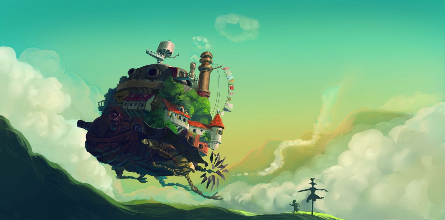 Howl's Moving Castle Anime cartoon fantasy ships vehicles landscapes flight buildings houses cities art wallpaper