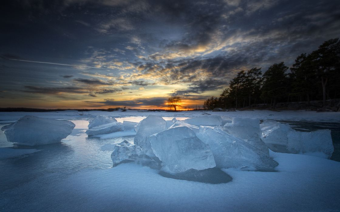 Ice Sunset Winter lakes water sky clouds shore reflection wallpaper
