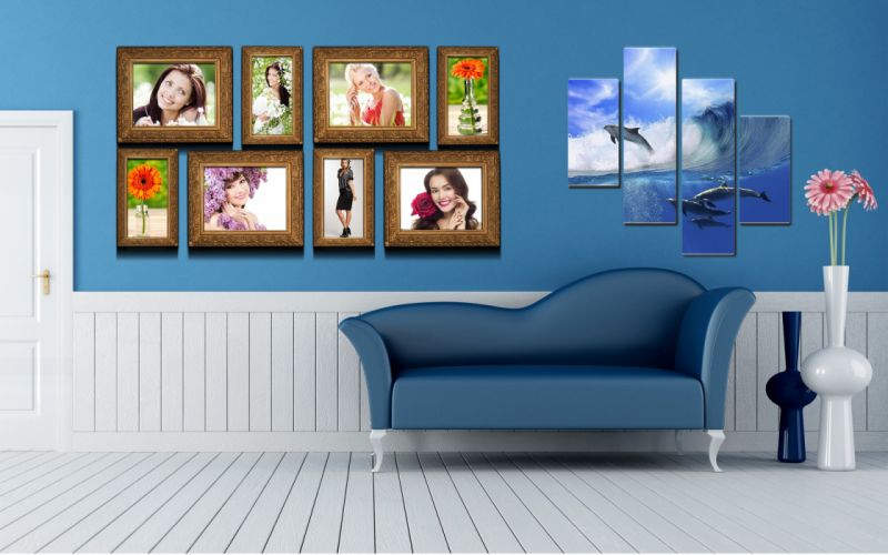 Interior sofa flowers vases pictures polyptych dolphins faces furniture wallpaper