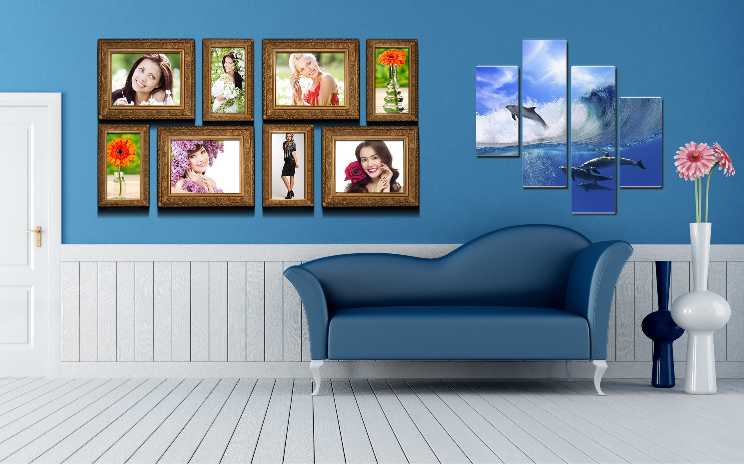 Interior sofa flowers vases pictures polyptych dolphins for Wallpaper home photos