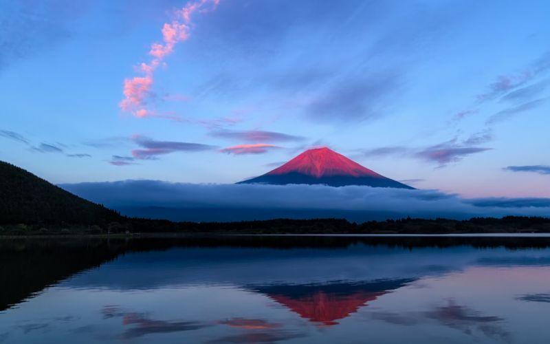 Japan Fuji evening mountain sky lake reflection clouds sunset sunrise clouds shore wallpaper