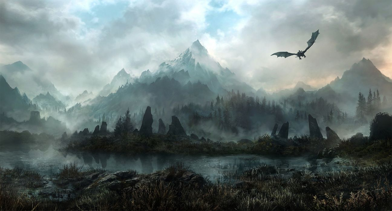 landscapes elder scrolls skyrim fantasy dragons flight mountains sky clouds wallpaper