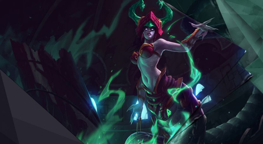 League of Legends Jade Fang Cassiopeia fantasy magic women females girls sexy babes eyes wallpaper