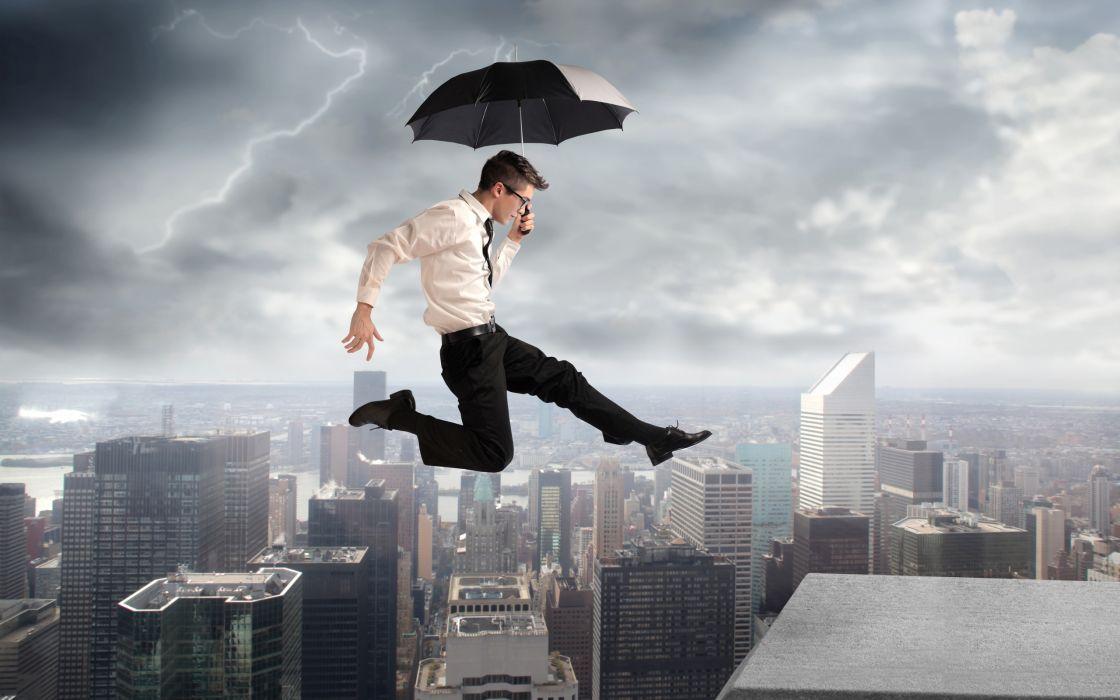 lightning  Creative  city  building  umbrella  jump mood cities storm rain men males manipulation wallpaper