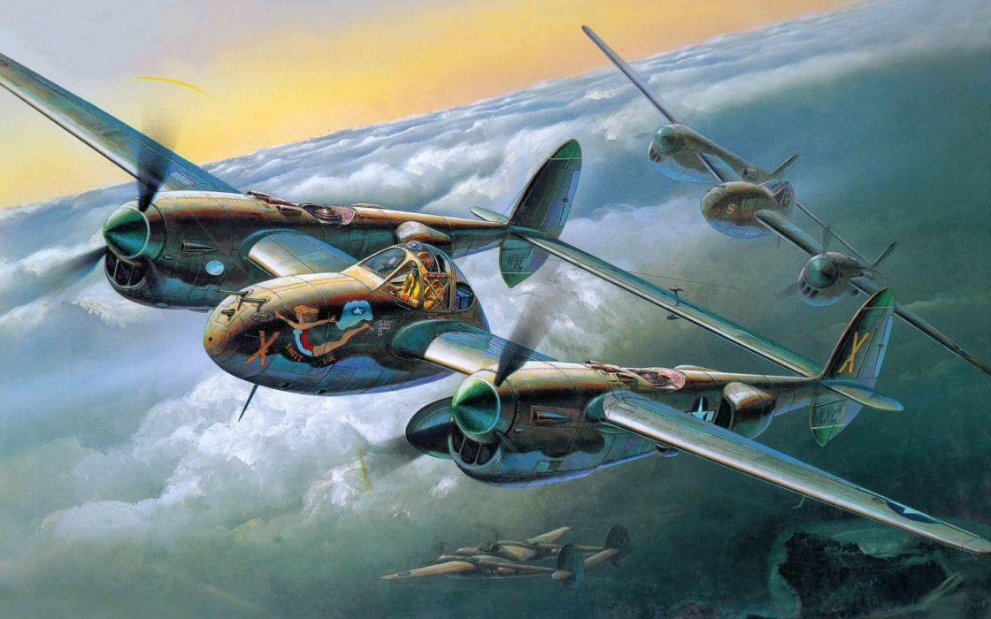 Lockheed P-38 Lightning art military flight sky clouds pilot cockpit retro wallpaper
