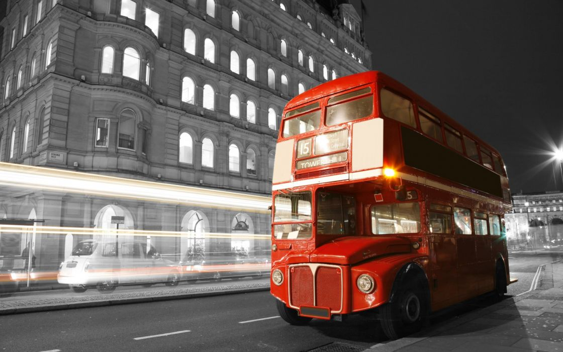 london england bus night lights blur street road city black white roads selective coloring buildings cars exposure timelapse wallpaper