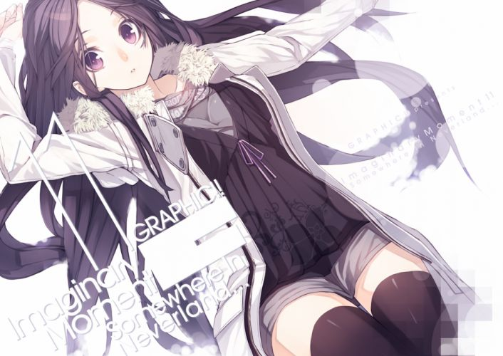 long hair original purple eyes senmu tagme thighhighs wallpaper