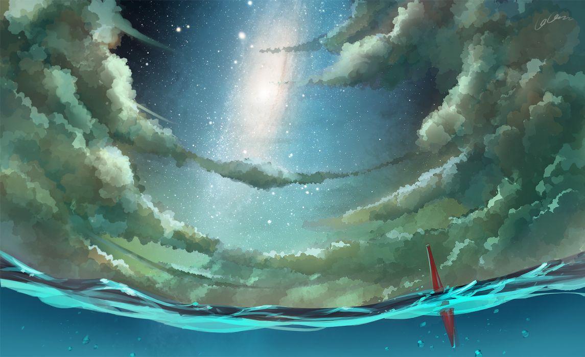 Madcocoon Original Scenic Ocean Sea Sky Stars Clouds Moon