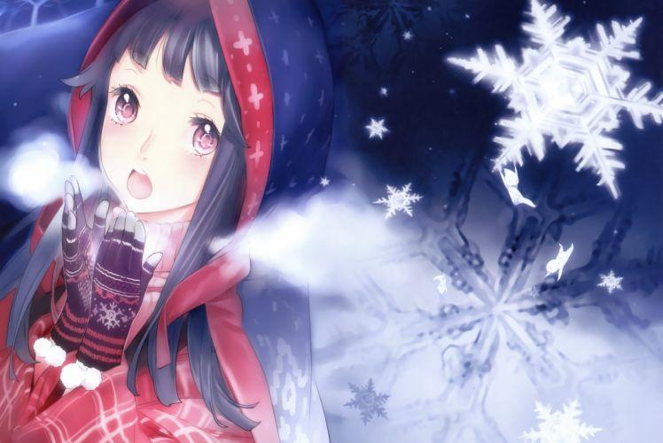 moeoh gloves long hair nishieda original pink eyes snow wallpaper