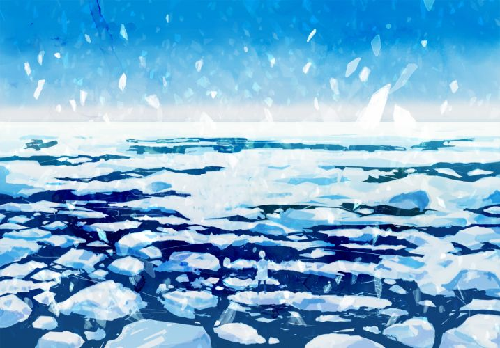 monochrome original scenic sky snow water wayukako winter wallpaper