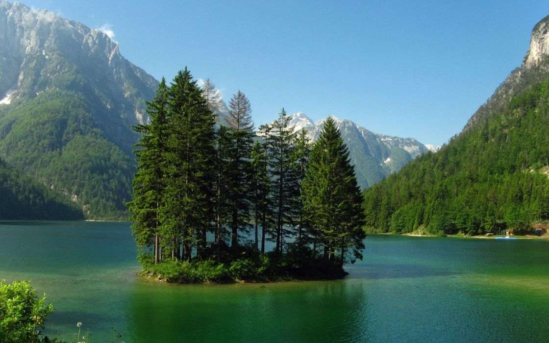 mountains nature island trees lake forest shore sky wallpaper