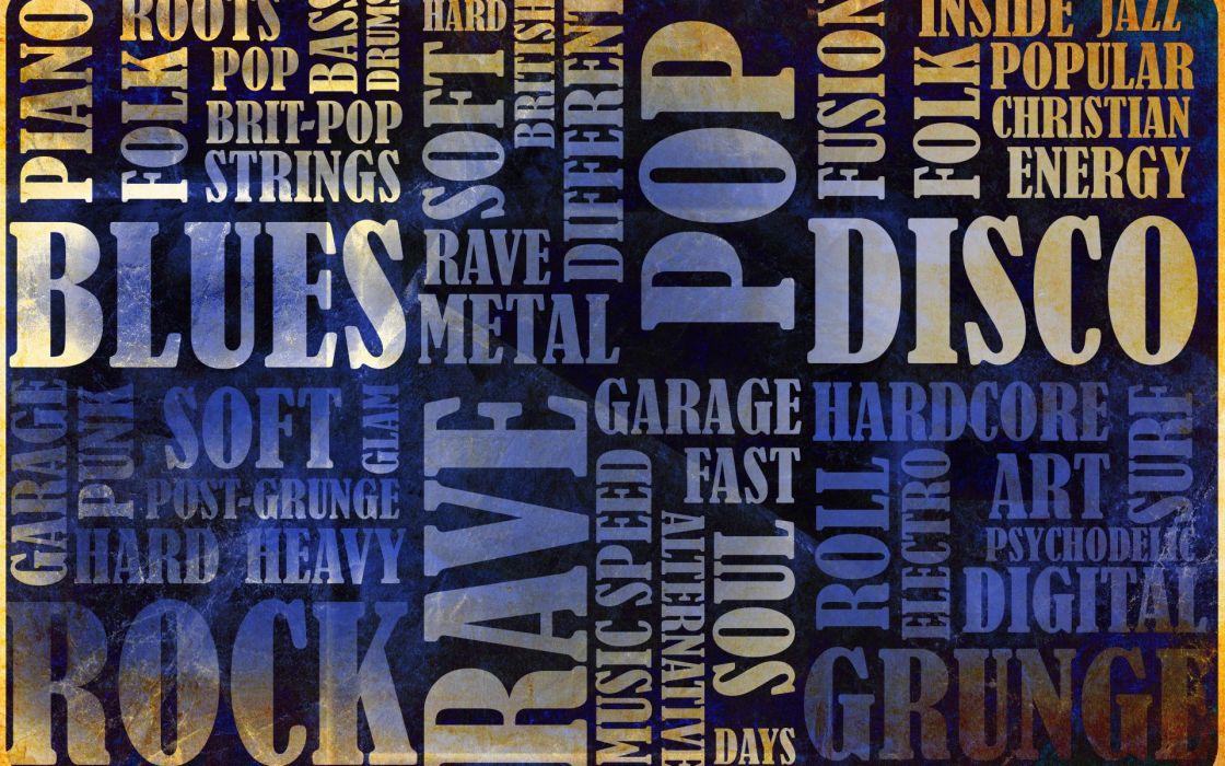 music genres blues folk rock rave grunge glam metal collage text wallpaper