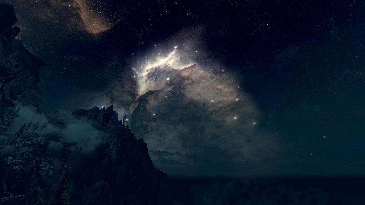 Nebula Stars Night Landscape sky mountains trees fog space wallpaper
