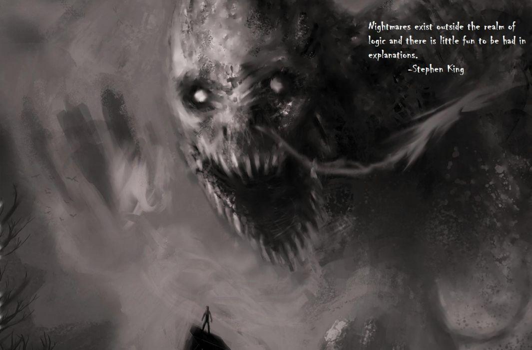 Nightmares Monster Creepy Logic Stephen King BW text horror wallpaper