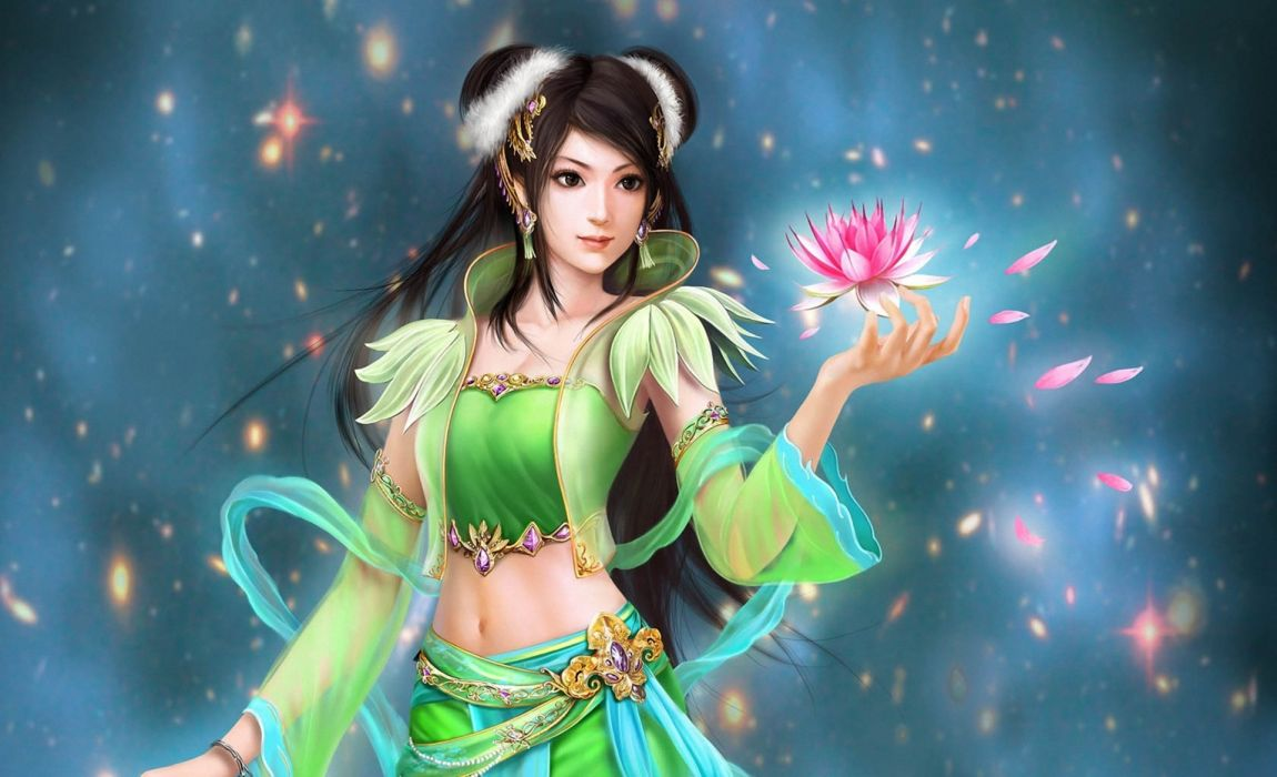 perfect World  jade dynasty  flowers  sparkles  Art  Water Lily fantasy petals women females girls mood magic wallpaper