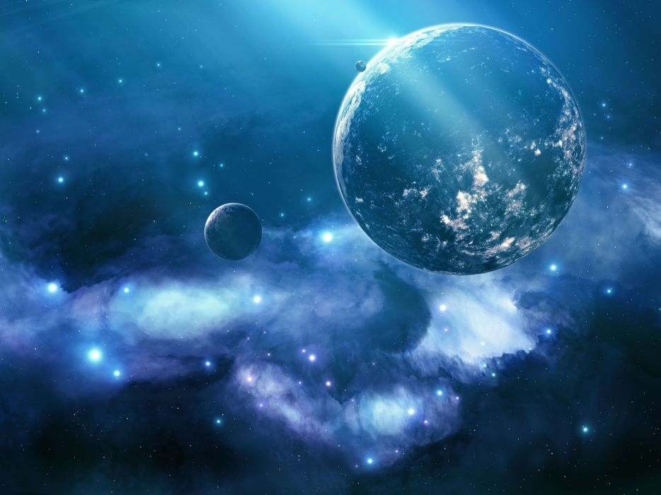 outer space galaxies planets wallpaper