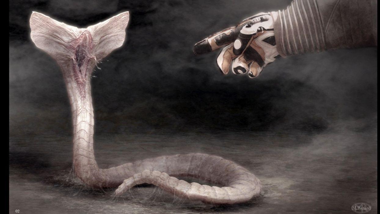 Prometheus Creepy Hand Monster Drawing movies aliens sci-fi snakes dark horror wallpaper