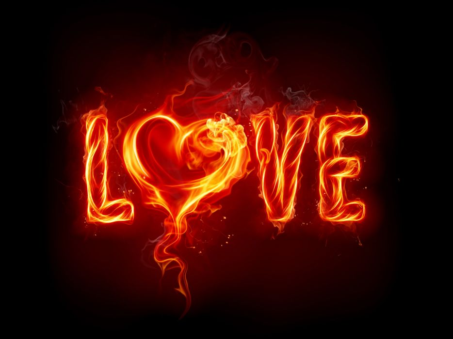 flames love fire black background wallpaper