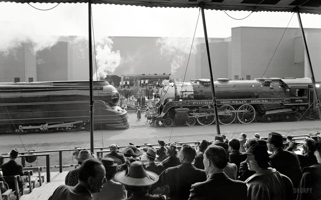 retro black white monochrome trains locomotive railroad crowds people wallpaper