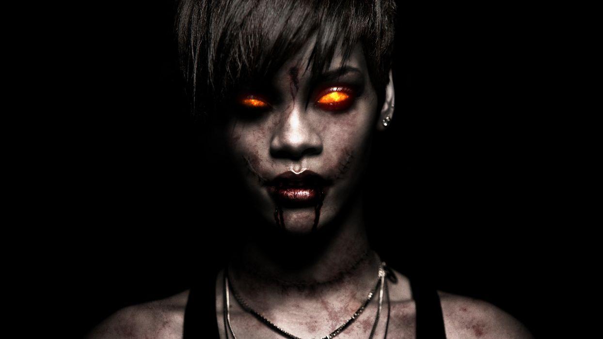 Rihanna Brunette Zombie Demon Creepy face eyes singer musician women females girls wallpaper