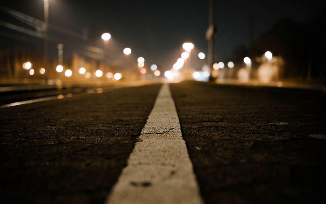 Road Line Macro Night Lights buildings wallpaper