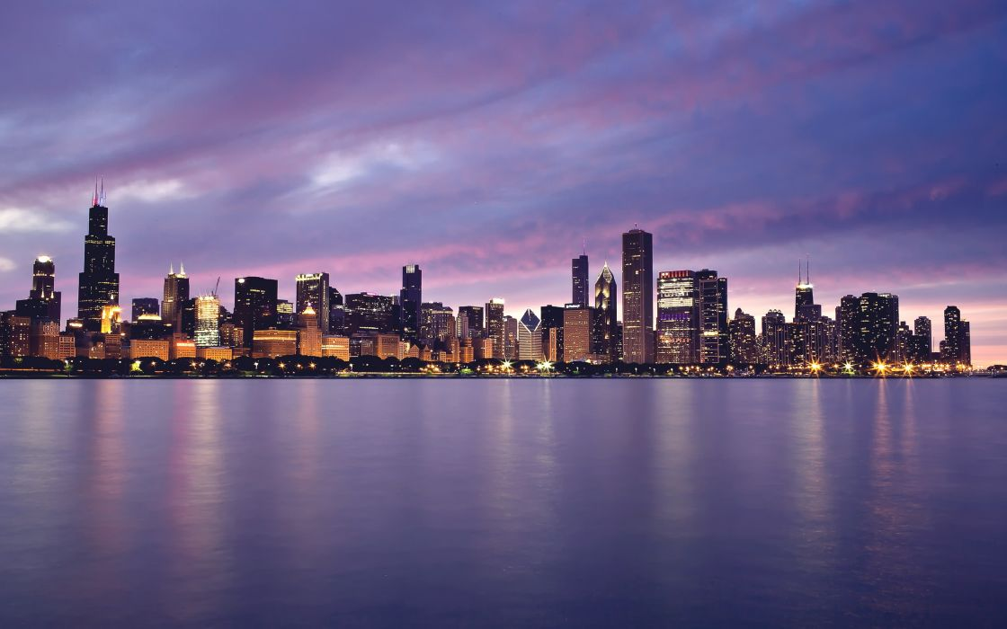 water cityscapes Chicago dusk reflections wallpaper