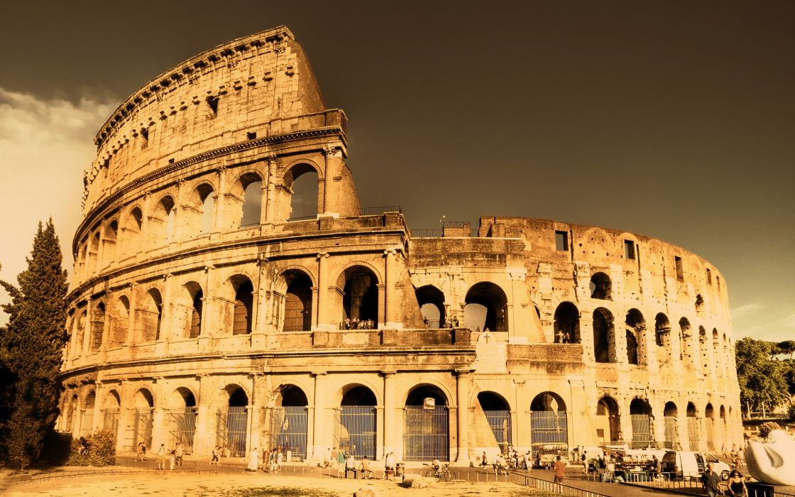 ruins cityscapes Europe Rome Italy Colosseum wallpaper