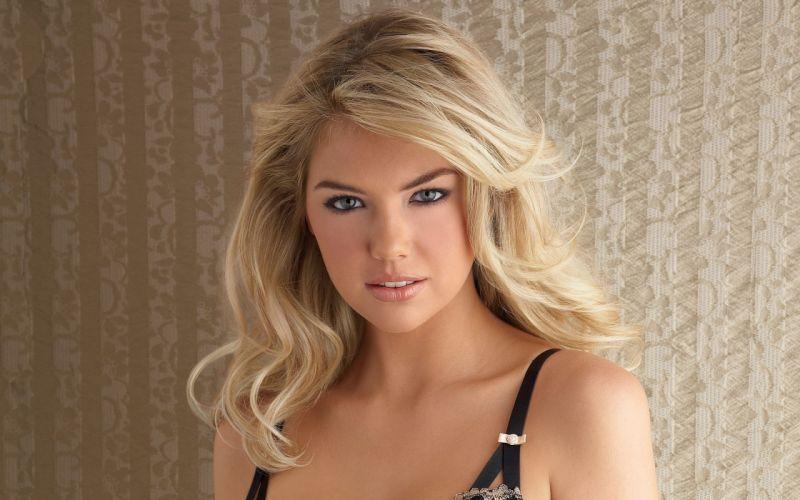 blondes women close-up blue eyes long hair smiling Kate Upton faces wallpaper