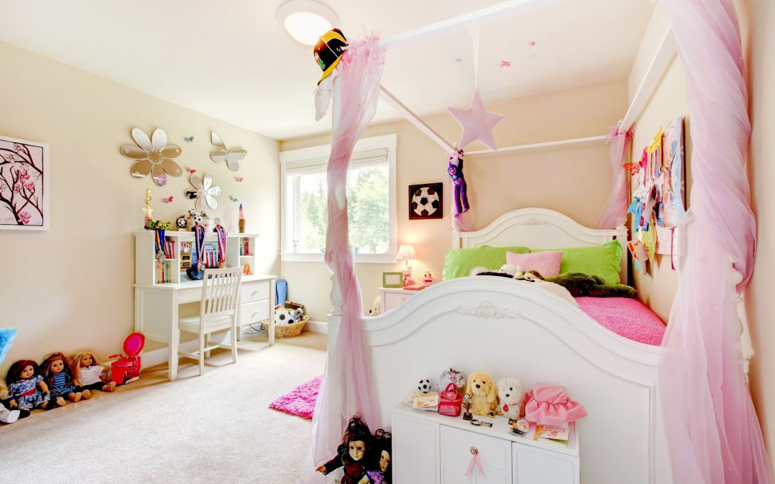 room children toys comfort doll bed pillows interior design pink room bedroom wallpaper