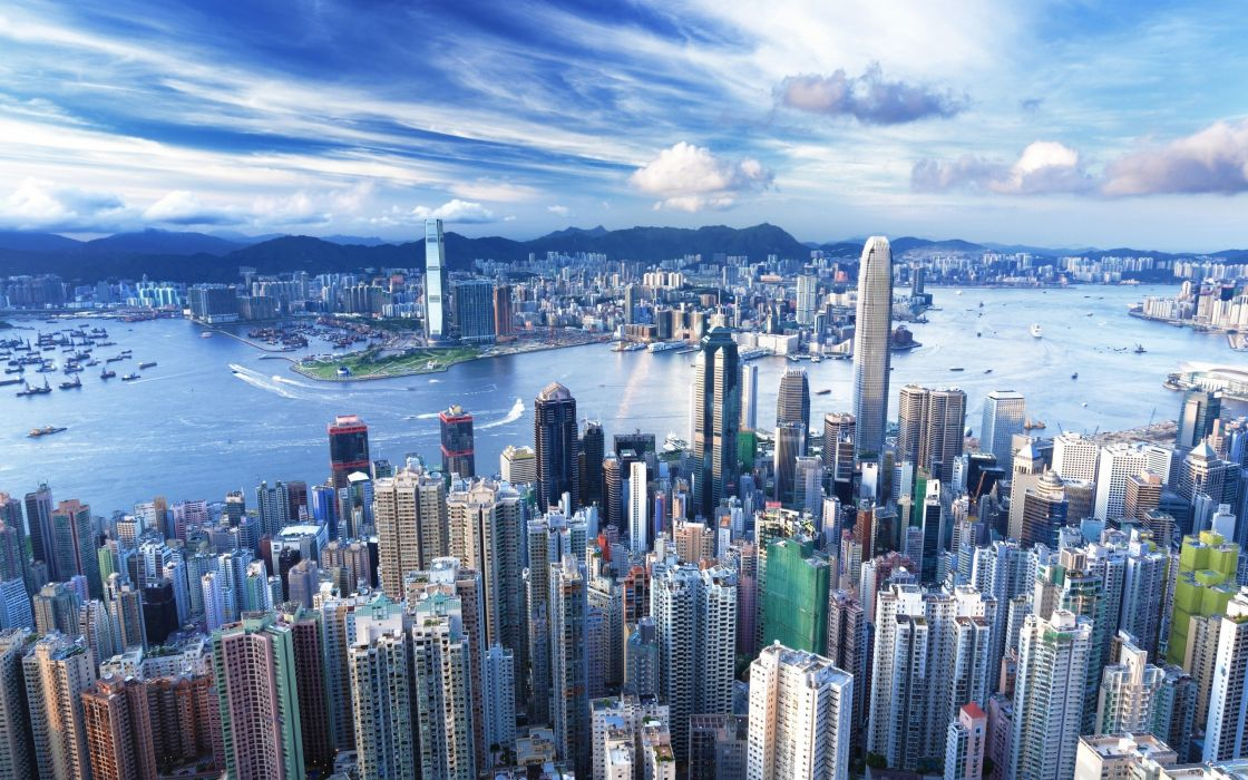 cityscapes buildings Hong Kong cities harbours wallpaper